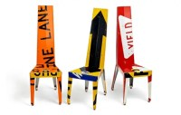 Decorative Chairs and Small Tables Made Of Recycled Street ...