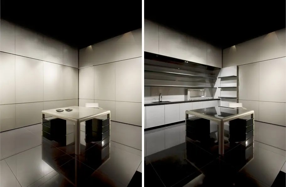Disappearing Sleek and Polish Kitchen Design  Calyx from Armani Casa  DigsDigs