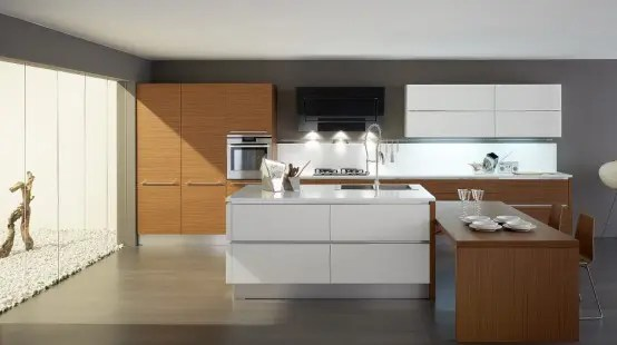 Glossy Black and White Kitchens with Wooden Elements  Oyster by Veneta Cucine  DigsDigs