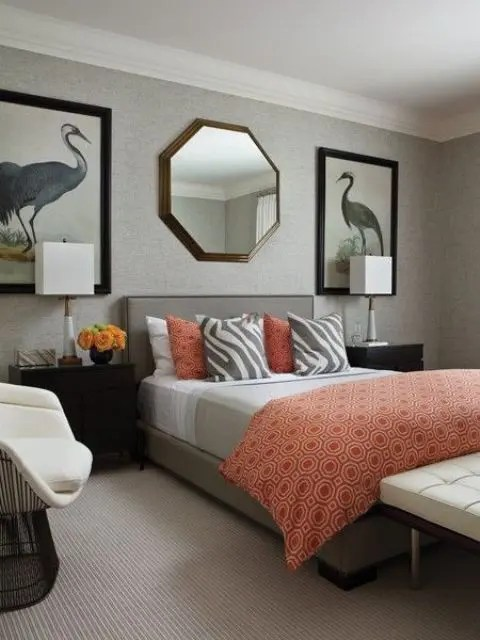 In fact, it's made up of red, green, yellow, blue and orange. 45 Grey And Coral Home Décor Ideas - DigsDigs