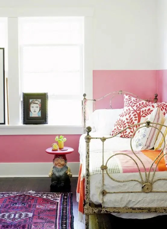 Cute Color Pink Wallpaper The Latest Decor Trend 29 Half Painted Wall Decor Ideas