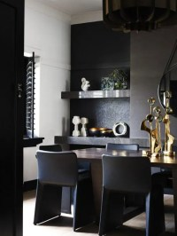 Impressive Black Interior Design With Gold And Orange ...