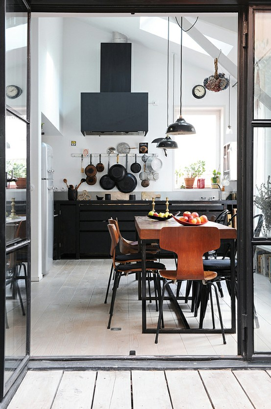 mid century modern plastic chairs chair hay design 59 cool industrial kitchen designs that inspire - digsdigs