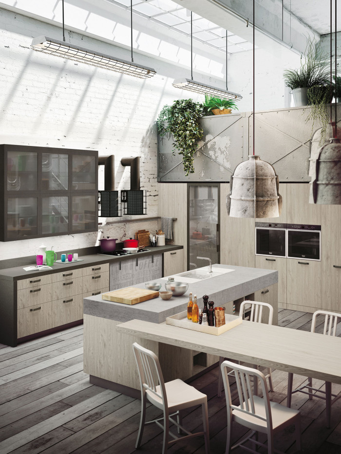 contemporary kitchen design tall bags industrial loft with light wood in - digsdigs