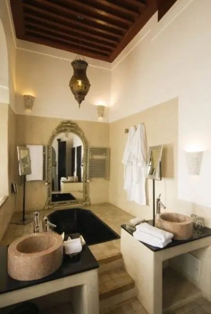 african style living room design decorating ideas with brown leather furniture eastern luxury: 48 inspiring moroccan bathroom ...