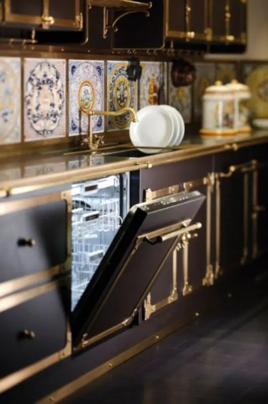 remodel kitchen cabinets counter decorating ideas luxurious vintage style in coffee and gold colors ...