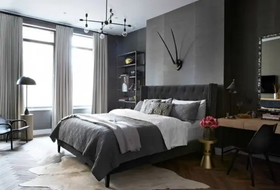 industrial grey bedroom Masculine Loft With Industrial Touches And Dark Shades - DigsDigs