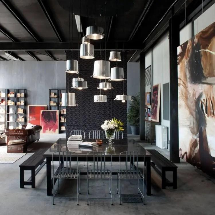Milan Loft Design With Dark Industrial Metals In Decor