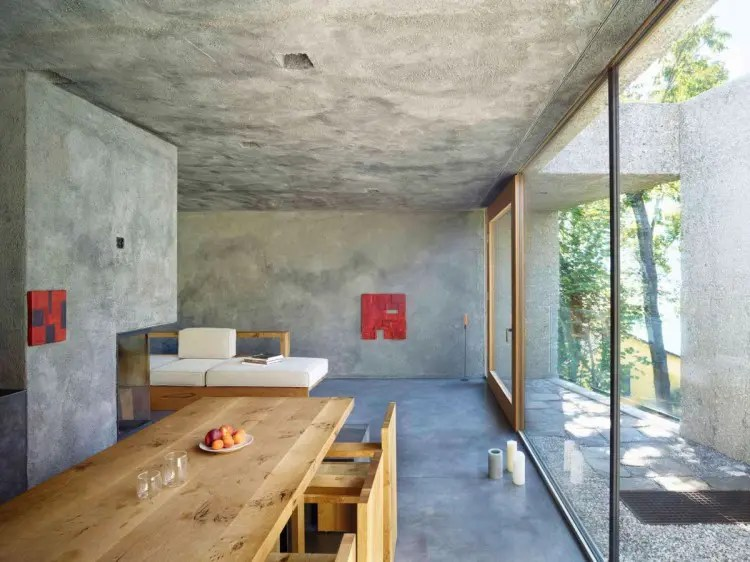 living room designs with grey walls wall mirrors for rooms minimalist and rough concrete tower in the forest - digsdigs