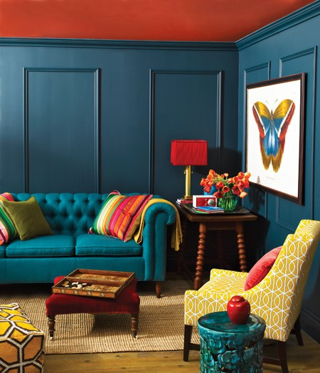 Purple Living Room With Brown Sofa