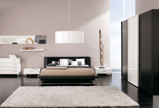 Modern-luxury-bedroom-design-with-grey-soft-bed-white-nightstands-and-dresser-and-black-and-white-wardrobe