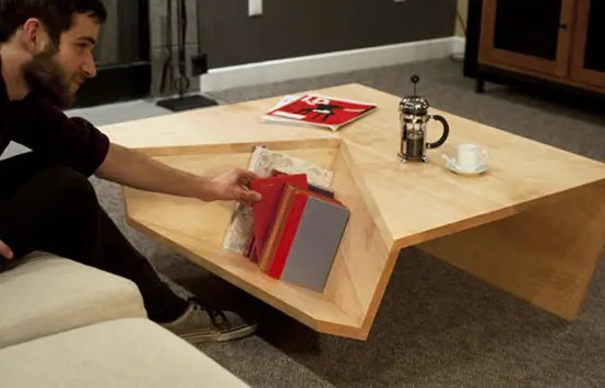 Not Ordinary Shaped Coffee Table With Book Storage  DigsDigs