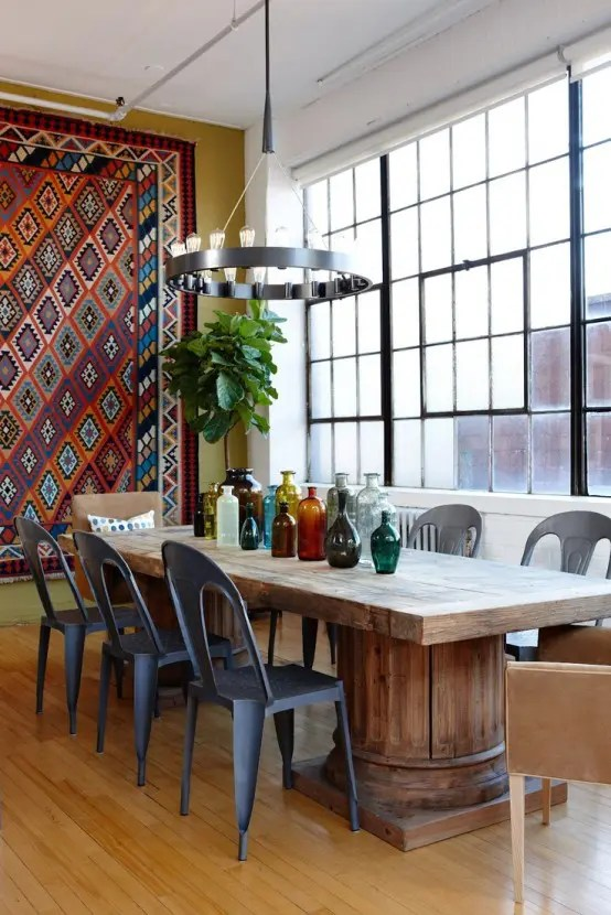 bohemian living room wall ideas coastal curtains 39 original boho chic dining designs digsdigs