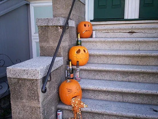 Wacky Halloween Decorations Decor Pumpkin Jack-o-lantern Jackolantern Drunk Throw Up Puke Barf Alcohol Beer Bottles Cigarette Smoking Pumpkins