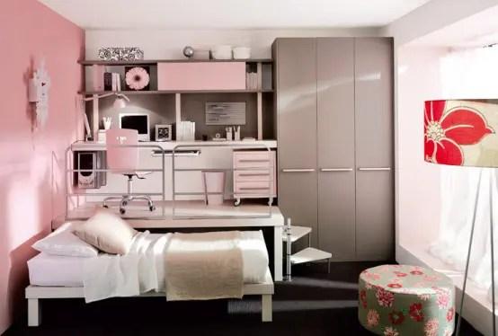 pink loft teenage bedroom