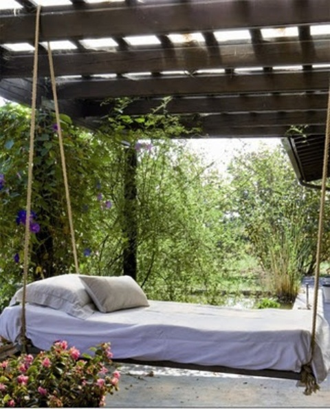 hanging hammock chairs outdoors bloom chair accessories 39 relaxing outdoor beds for your home - digsdigs