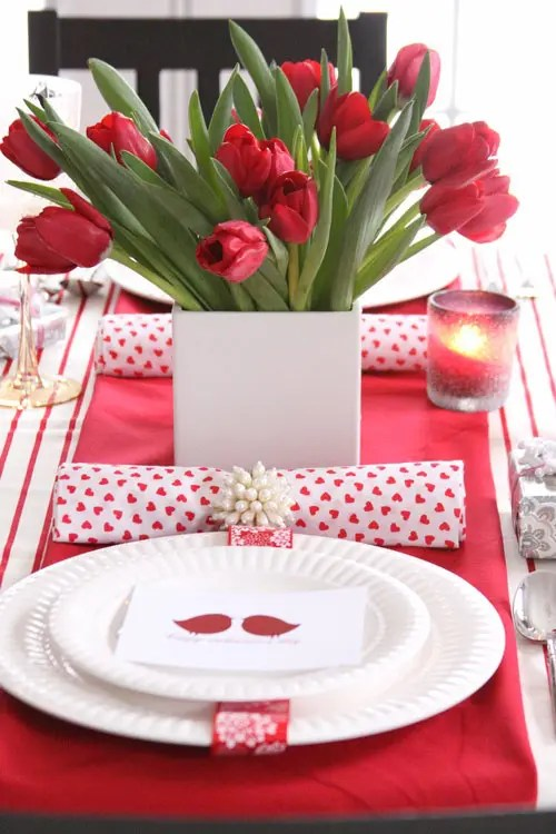 How to Set a Table Valentines Day Tablescape with Red Roses Centerpiece and White China Heart Napkins Candlelight