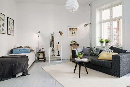 Scandinavian One Room Studio Apartment In Gothenburg Digsdigs