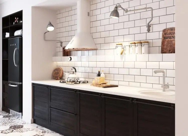 brick backsplash in kitchen barn doors small yet airy scandinavian design - digsdigs