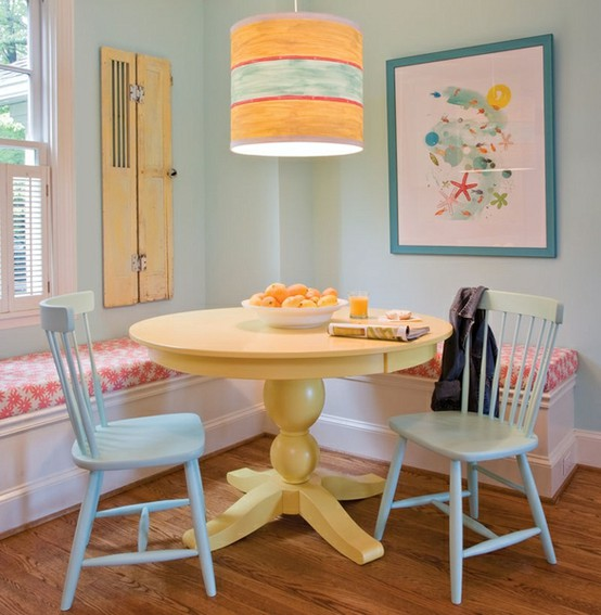 yellow sofa table white chair slipcover 39 bright and colorful dining room design ideas - digsdigs
