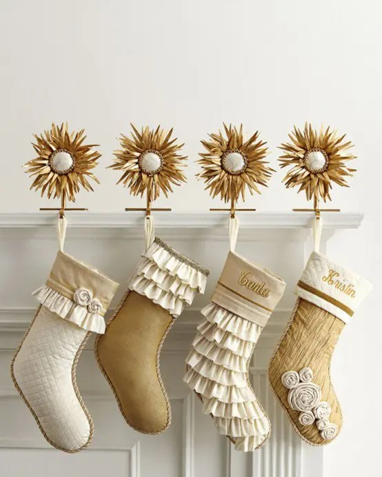 Black Candle Holders With Decorative Fabrics In Golden Colors For Winter Holiday Decoration