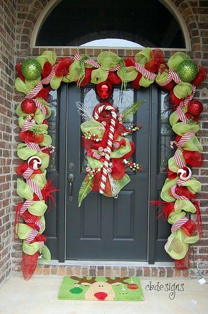 Santa In Chimney Christmas Door