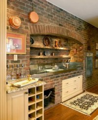 74 Stylish Kitchens With Brick Walls and Ceilings - DigsDigs