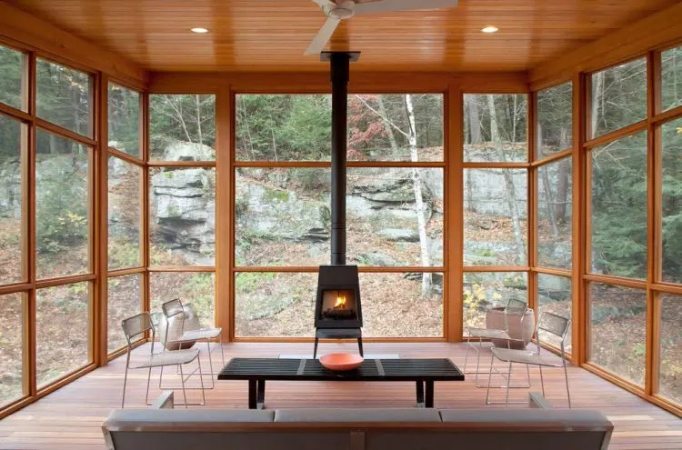 how to decorate a living room with wood burning stove armless accent chairs for 75 awesome sunroom design ideas - digsdigs