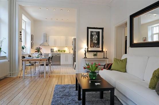 Swedish 58 Square Meter Apartment Interior Design With Open Floor