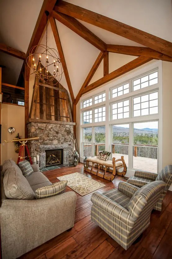 traditional living room interior design pictures couch cozy house built to look like an old barn ...