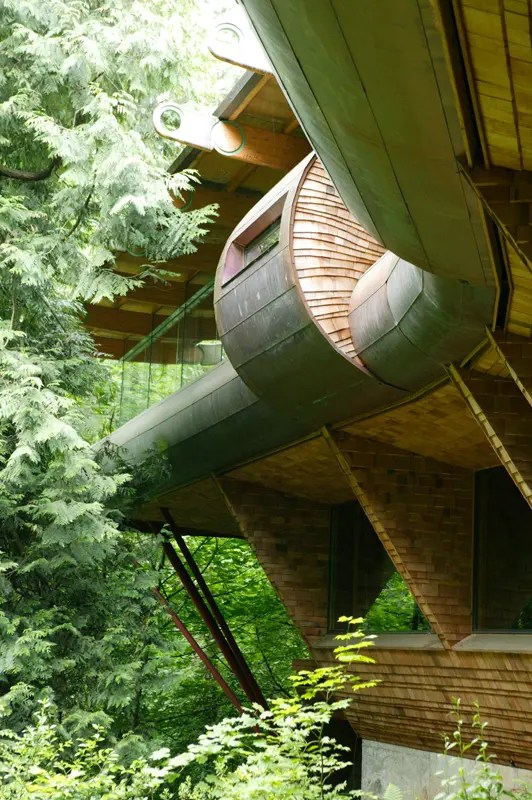 Curved Abstract House In Forest Made Of Natural Materials