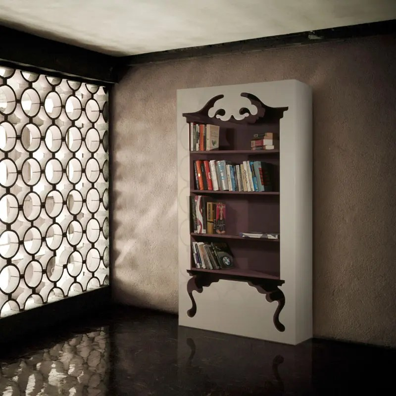 Vintage Bookcase Embedded Into a Modern Form  DigsDigs