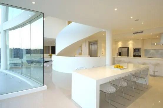 white kitchen seafront house