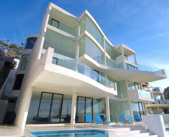 white seafront house