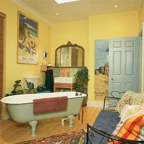 orange living room decorating ideas computer desk 37 sunny yellow bathroom design - digsdigs