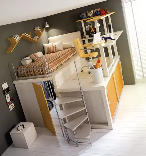 yellow loft teenage bedroom
