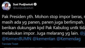 Mantan Menteri Susi Minta Jokowi Stop Rencana Impor 1 Juta Ton Beras