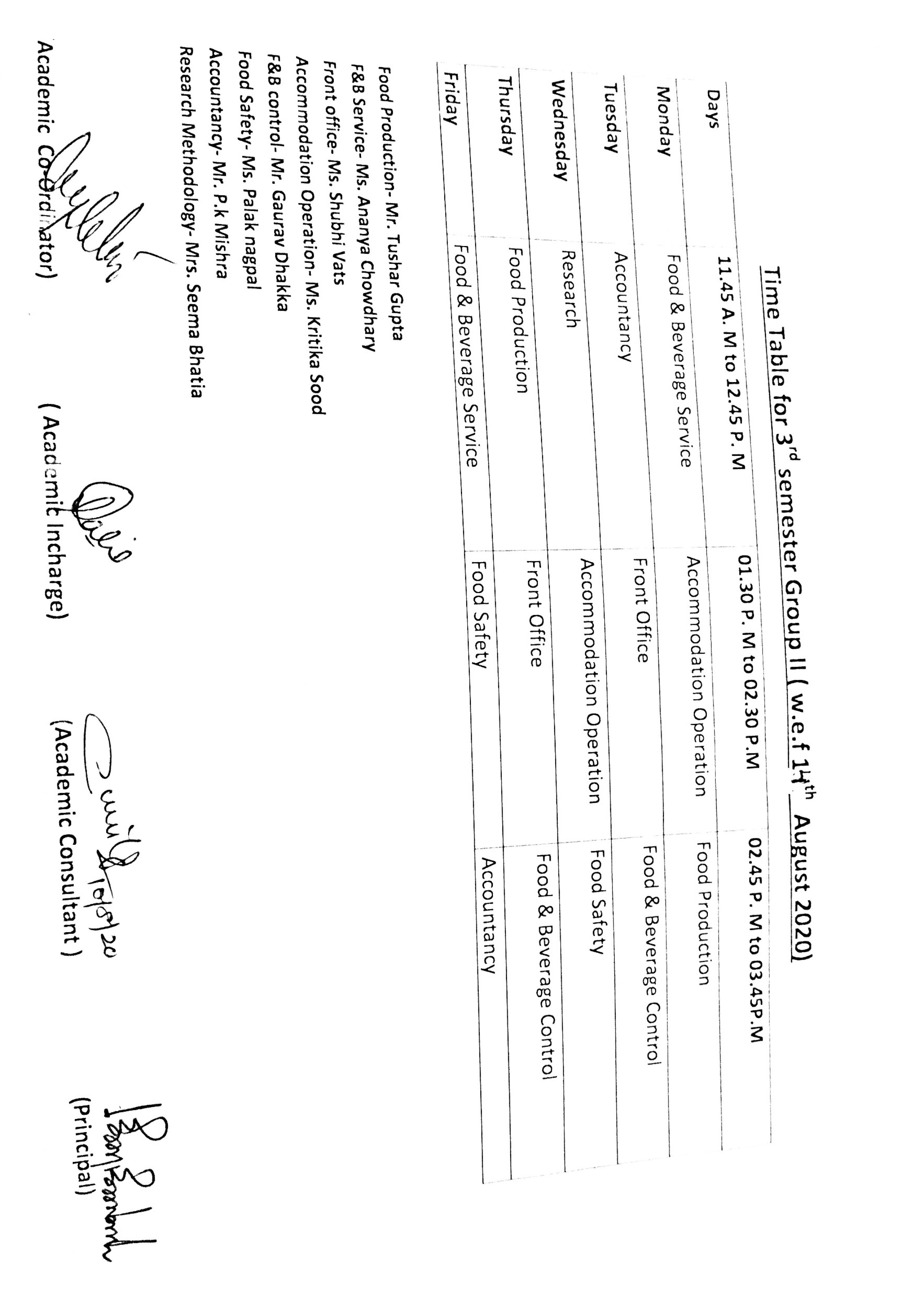 Time table of 3rd and 5th semester wef 14th August,2020