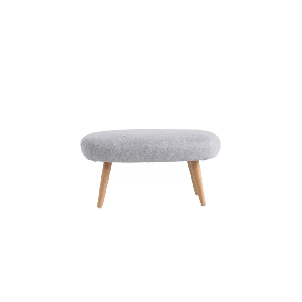 fabric ottoman footstool and pouffe with wooden legs mhon diiiz