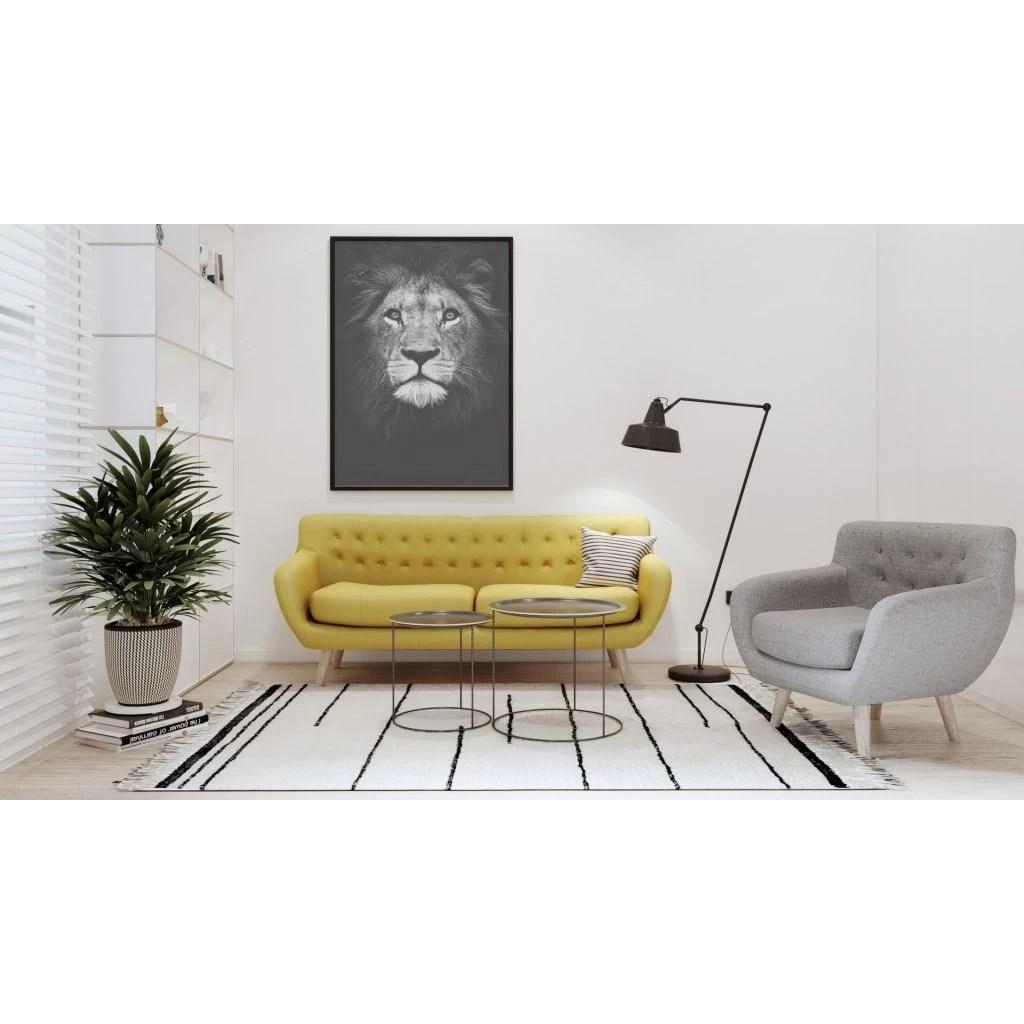 Posters van wilde dieren in zwart en wit  Leeuw  diiiz