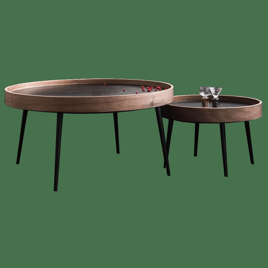 table gigogne en bois et metal table de salon ronde de qualite diiiz