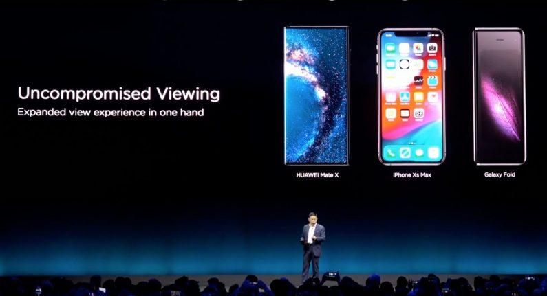 comparaison Mate X Galaxy Fold iPhone XS