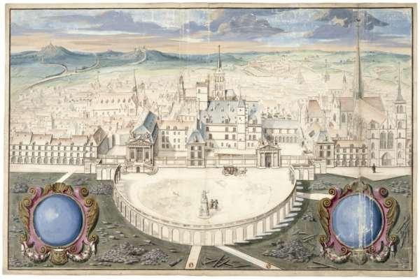 Vue du premier projet pour le palais des Etats esquissé par l'architecte Jules Hardouin -Mansart en 1688. On remarque la présence de la Sainte-Chapelle dans le bord droit de l'image, qui n'est plus visible aujourd'hui. Elle fut détruite en 1802.