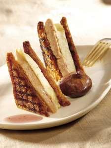 Foie gras en croque-monsieur pain d'épices et chaource