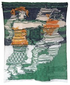 Paso Doble (2002-2003) par Edith L'Haridon, maille destructurée, laine, doublure en tissu, 96 x 79 cm.