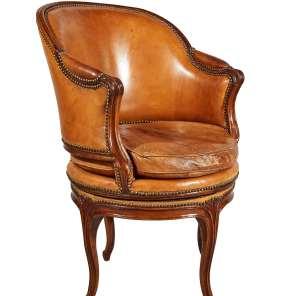 Fauteuil de bureau à assise tournante d'époque Louis XV @P.Hiest