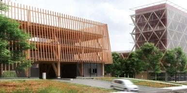 Le plus grand ensemble bois de France pour le tertiaire s'élèvera bientôt au parc Valmy de Dijon : il s'agit du nouveau siège social de la Caisse d'Épargne régionale (à droite) et d'un parking public attenant en structures poteaux-poutres réutilisables (à gauche).