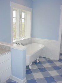 vct-tile-Bathroom-Contemporary-with-Black-Penny-Tile-blue ...