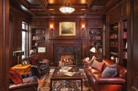 Build in Bookshelves Dark Wood Fireplace for Traditional ...