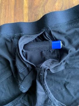 Tango bullet vibrator inserted into the horizontal pocket of the Blush Novelties Temptasia Harness Briefs